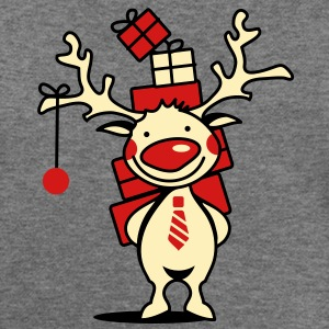 cute reindeer with red nose and Christmas presents  Long Sleeve Shirts - Women's Wideneck Sweatshirt