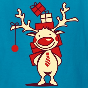 cute reindeer with red nose and Christmas presents  Kids' Shirts - Kids' T-Shirt