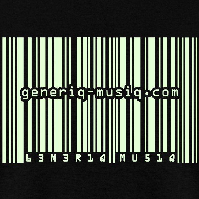 generiq-musiq barcode GLOW-IN-THE-DARK $10 T-SHIRT!!!