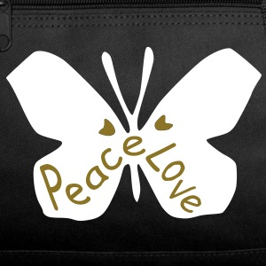 Love peace txt cool butterfly insect vector grpahic art Duffel Bag - Duffel Bag