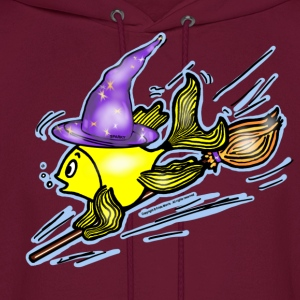 Wizard Fish - funny cute drawing - Men's Hoodie