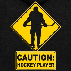 CAUTION: Hockey Player Zip Hoodies/Jackets - Unisex Fleece Zip Hoodie by American Apparel