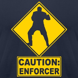 CAUTION: Hockey Enforcer T-Shirts - Men's T-Shirt by American Apparel