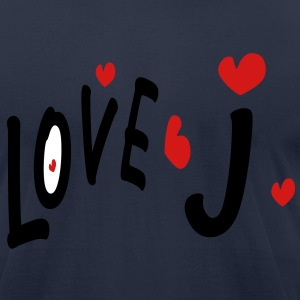 Love J txt hearts vector graphic line art Men's T-Shirt by American Apparel - Men's T-Shirt by American Apparel