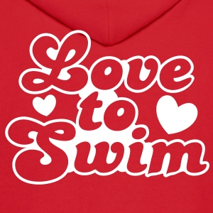 love to swim swimmer with love hearts Hoodies - Men's Hoodie