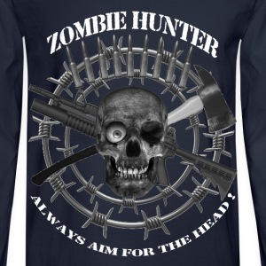Zombie Hunter always aim for the head white text Long Sleeve Shirts - Men's Long Sleeve T-Shirt