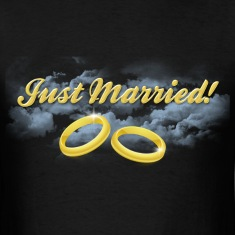 Just Married Gold Rings, Gold Lettering T-Shirts