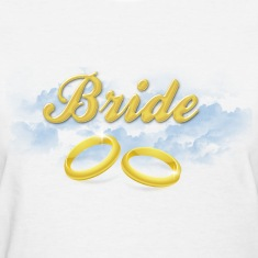 Bride, Gold Wedding Rings and Blue Clouds Women's T-Shirts