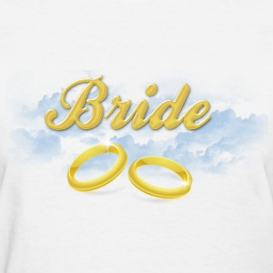 Bride, Gold Wedding Rings and Blue Clouds Women's T-Shirts - Women's T-Shirt