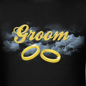 Groom, Gold Wedding Rings and Blue Clouds T-Shirts - Men's T-Shirt