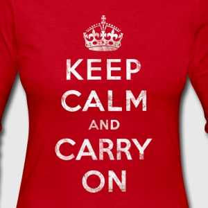 Vintage White Keep Calm and Carry On Text w/Crown Long Sleeve Shirts - Women's Long Sleeve Jersey T-Shirt