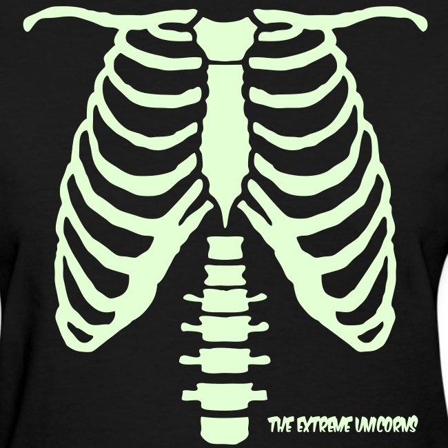 Women's glow in the dark skeleton