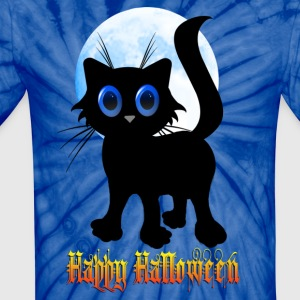Happy Halloween Black Kitten - Unisex Tie Dye T-Shirt