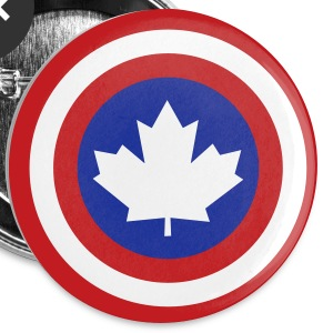 Captain Canada Shield 2 Colour Buttons - Small Buttons