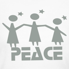 Peace txt angels vector graphic  line art Women's Long Sleeve Jersey T-Shirt