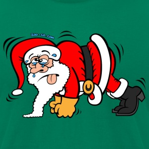 Santa Claus Doing Pushups T-Shirts - Men's T-Shirt by American Apparel