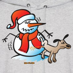 Dog Pissing on a Snowman Hoodies