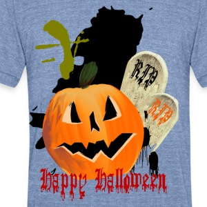 Jack-O-Lantern and Graves - Unisex Tri-Blend T-Shirt by American Apparel