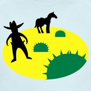 wild west sheriff outlaw in a scene with cactus and a horse two Baby Bodysuits - Short Sleeve Baby Bodysuit