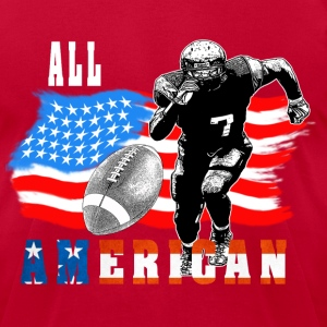 All American Football player 5 with Ball white out T-Shirts - Men's T-Shirt by American Apparel
