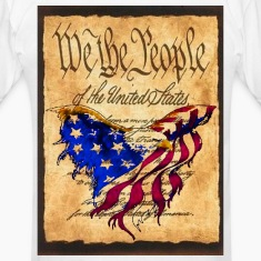 We The People American Eagle Flag Short Sleeve T-Shirt w/design on back and front