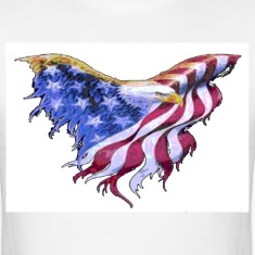 We The People American Eagle Flag Short Sleeve T-Shirt w/design on on front