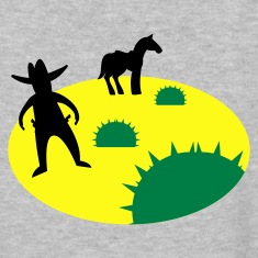wild west sheriff outlaw in a scene with cactus and a horse two Women's T-Shirts