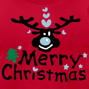 Merry Christmas txt reindeer vector graphic line art Men's T-Shirt by American Apparel - Men's T-Shirt by American Apparel