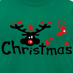 Christmas txt reindeer vector graphic line art Men's T-Shirt by American Apparel - Men's T-Shirt by American Apparel
