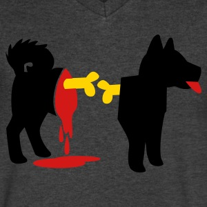 dead zombie dog with exposed bones and blood! T-Shirts - Men's V-Neck T-Shirt by Canvas