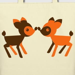 lover little deers noses together opposite Bags  - Eco-Friendly Cotton Tote