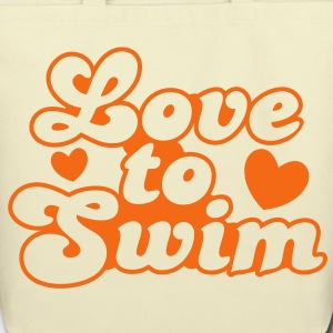 love to swim swimmer with love hearts Bags  - Eco-Friendly Cotton Tote
