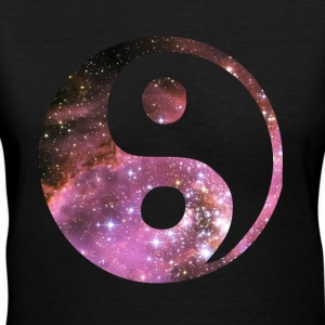 Zen Space Yin Yang Symbol - Women's V-Neck T-Shirt