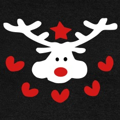 cute christmas reindeer hearts love vector art Womens Wideneck Sweatshirt