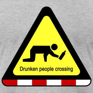 Drunken People Crossing Sign T-Shirts - Men's T-Shirt by American Apparel