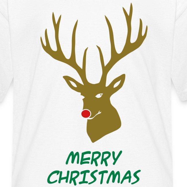 animal t-shirt christmas x-mas merry reindeer deer rudolph red nose antlers buck heart