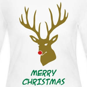 animal t-shirt christmas x-mas merry reindeer deer rudolph red nose antlers buck heart - Women's Long Sleeve Jersey T-Shirt