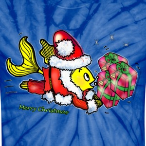 Santa Clause Fish - funny cute Christmas cartoon - Unisex Tie Dye T-Shirt