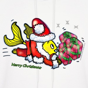 Santa Clause Fish - funny cute Christmas cartoon - Men's Hoodie