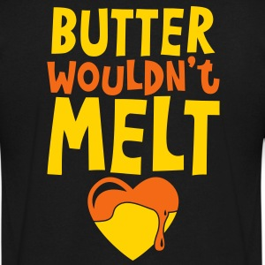 butter wouldnt melt with cute melting love heart T-Shirts - Men's V-Neck T-Shirt by Canvas