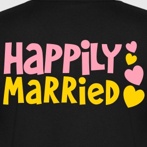 Happily married with cute little hearts wedding T-Shirts - Men's V-Neck T-Shirt by Canvas