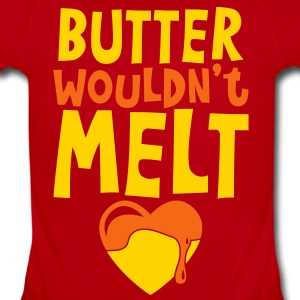 butter wouldnt melt with cute melting love heart Baby Bodysuits - Short Sleeve Baby Bodysuit