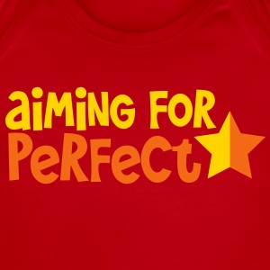 AIMING FOR PERFECT in funky  and blue font with a star  Baby Bodysuits - Short Sleeve Baby Bodysuit