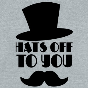 HATS OFF TO YOU top hat and moustache T-Shirts - Unisex Tri-Blend T-Shirt by American Apparel
