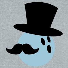 BOWLING ball with a top hat and Mustache T-Shirts