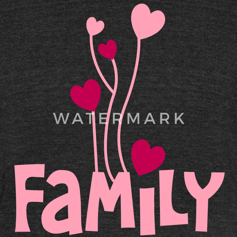 family word with lovely love heart balloons T-Shirts - Unisex Tri-Blend T-Shirt by American Apparel