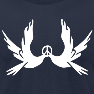 Peace symbol Dove vector graphic line art Men's T-Shirt by American Apparel - Men's T-Shirt by American Apparel