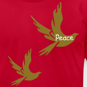 Peace txt Dove vector graphic art Men's T-Shirt by American Apparel - Men's T-Shirt by American Apparel