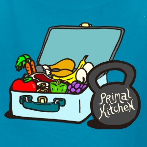 Paleo Child's Primal Kitchen T-shirt Featuring Lunchbox and Kettlebell - Kids' T-Shirt
