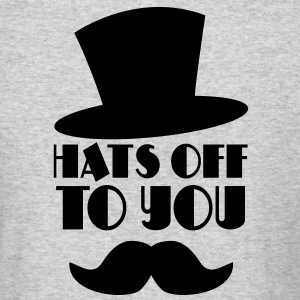 HATS OFF TO YOU top hat and moustache Long Sleeve Shirts - Men's Long Sleeve T-Shirt by Next Level